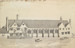 South View of the Grammer School behind Berkhamstead Church, Hertfordshire